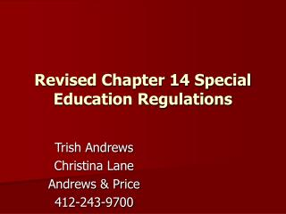 Revised Chapter 14 Special Education Regulations
