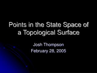 Points in the State Space of a Topological Surface