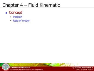 Chapter 4 – Fluid Kinematic