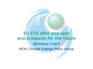 EU ETS after one year and prospects for the future