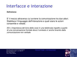 Interfacce e interazione