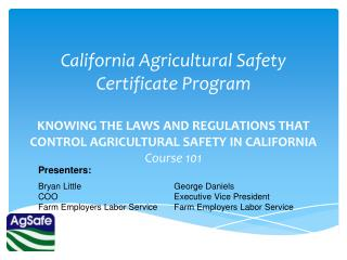 California Agricultural Safety Certificate Program