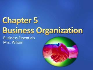 Chapter 5 Business Organization