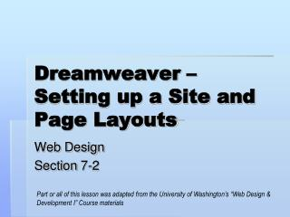 Dreamweaver – Setting up a Site and Page Layouts