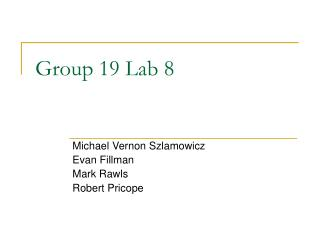 Group 19 Lab 8