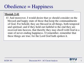 Obedience = Happiness