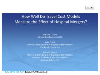 How Well Do Travel Cost Models  Measure the Effect of Hospital Mergers?