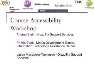 Course Accessibility Workshop