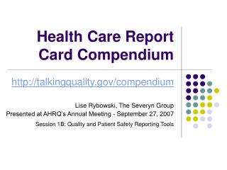Health Care Report Card Compendium