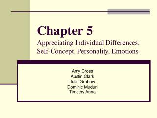 Chapter 5 Appreciating Individual Differences: Self-Concept, Personality, Emotions