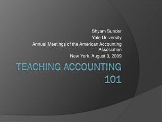 Teaching Accounting 101