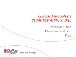 Lumbar Arthroplasty CHARITɮ Artificial Disc