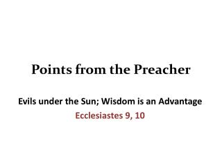 Points from the Preacher