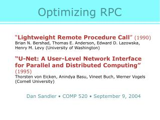 Optimizing RPC