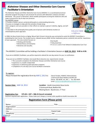 Alzheimer Disease and Other Dementia Care Course