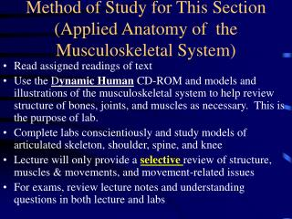 Method of Study for This Section (Applied Anatomy of  the Musculoskeletal System)