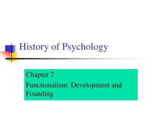 History of Psychology