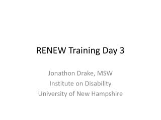 RENEW Training Day 3
