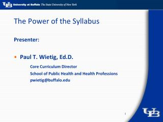 The Power of the Syllabus