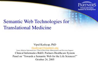 Semantic Web Technologies for Translational Medicine