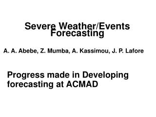 Severe Weather/Events  Forecasting