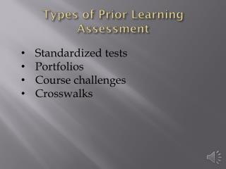 Types of Prior Learning Assessment
