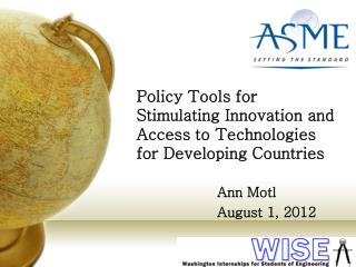 Policy Tools for Stimulating Innovation and Access to Technologies for Developing Countries