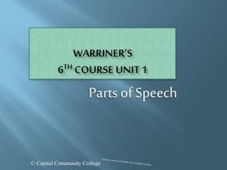 Warriner's 6 th  Course Unit 1