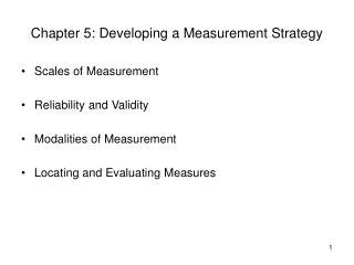 Chapter 5: Developing a Measurement Strategy