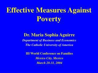 Effective Measures Against Poverty