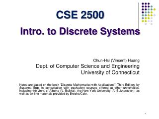 CSE 2500 Intro. to Discrete Systems