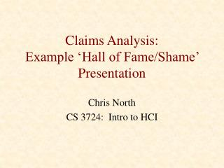 Claims Analysis: Example 'Hall of Fame/Shame'  Presentation