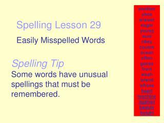 Spelling Lesson 29