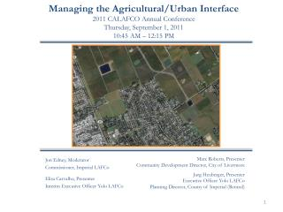 Managing the Agricultural/Urban Interface 2011 CALAFCO Annual Conference Thursday, September 1, 2011 10:45 AM – 12:15 P