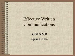 Effective Written Communications