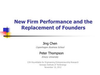 New Firm Performance and the Replacement of Founders