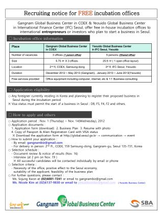 □ Incubation office information