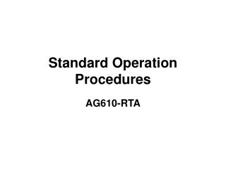 Standard Operation Procedures
