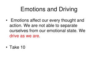 Emotions and Driving