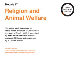 Religion and Animal Welfare