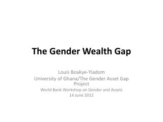 The Gender Wealth Gap