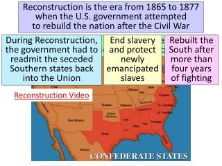 End of the Civil War, 1865  and  Reconstruction 1867-1877