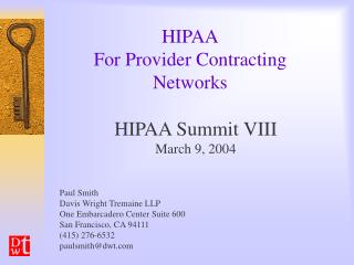 HIPAA For Provider Contracting Networks