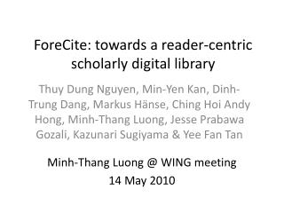 ForeCite: towards a reader-centric  scholarly digital library