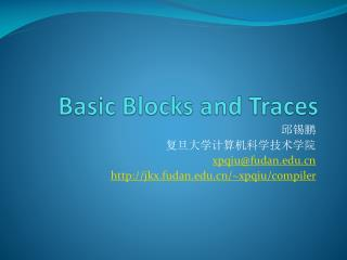 Basic Blocks and Traces
