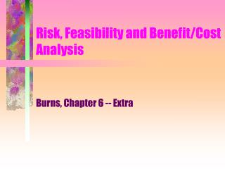 Risk, Feasibility and Benefit/Cost Analysis