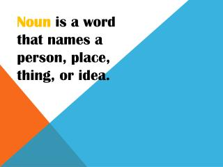 Noun  is a word that names a person, place, thing, or idea.