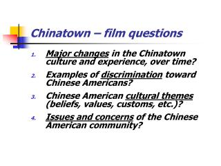 Chinatown – film questions