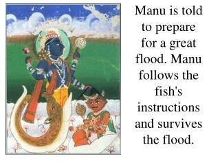 Manu is told to prepare for a great flood. Manu follows the fish's instructions and survives the flood.