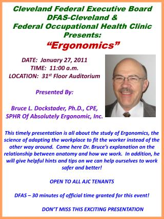 "Cleveland Federal Executive Board DFAS-Cleveland & Federal Occupational Health Clinic Presents: ""Ergonomics"""